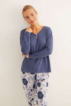 Womensecret Blue song-sleeved floral pyjamas blue