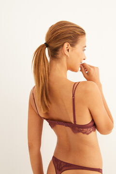 Womensecret Burgundy plumetis and lace push-up bra red