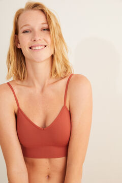 Womensecret Plain terracotta seam-free crop top printed