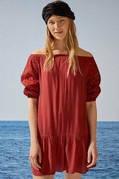 Womensecret Short red embroidered dress with puffed sleeves nude
