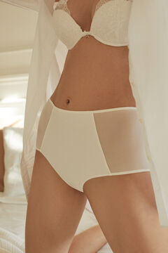 Womensecret Culotte haute semi-contrôle microfibre et tulle blanche blanc
