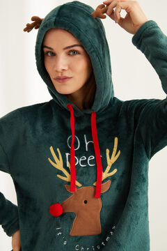 Womensecret Pyjama long polaire renne vert