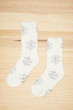 Womensecret Meia fluffy marfim flocos de neve branco