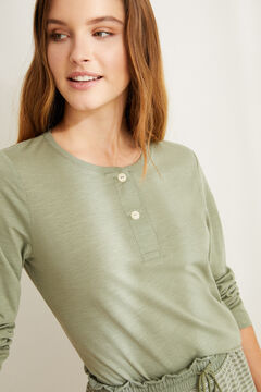 Womensecret Long-sleeved green cotton Henley t-shirt beige