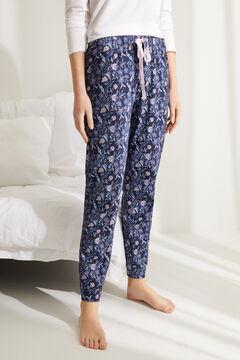 Womensecret Pantalón largo algodón floral azul
