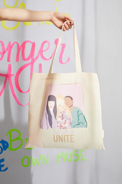 Womensecret Off-white 100% cotton printed cloth tote bag white