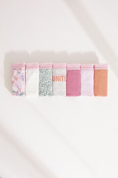 Womensecret 7-pack multicoloured cotton tangas printed