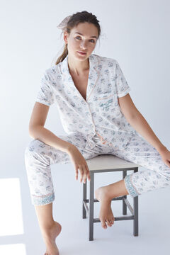 Womensecret Pijama camiseiro cor-de-rosa algodão sustentável cinzento