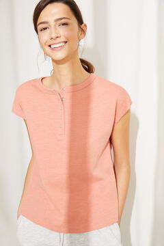 Womensecret Coral cotton short-sleeved Henley top pink