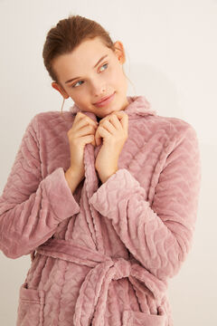 Womensecret Pink fleece robe pink