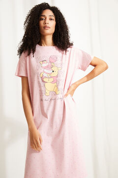 Womensecret Pink cotton Winnie the Pooh short-sleeved midi nightgown pink