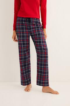 Womensecret Pantalon long de pyjama imprimé à carreaux navy imprimé