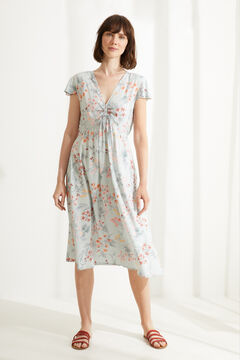 Womensecret Midi floral wide strap nightgown white