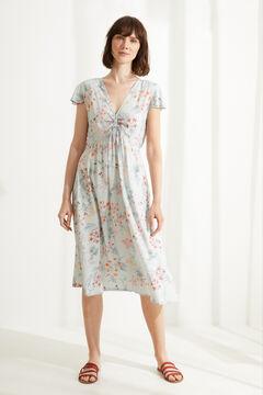 Womensecret Camisa de domir midi alças largas flores branco