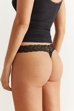 Womensecret Black lace and microfibre thong black