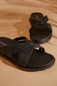 Womensecret Crossover strap sandals black