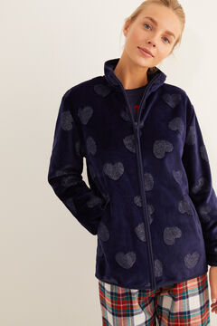 Womensecret Robe de chambre courte imprimé cœur bleu