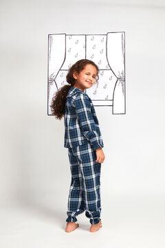 Womensecret Pijama Largo Cuadros Cuello niña azul