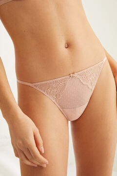 Womensecret Pink flocked tulle and lace tanga pink