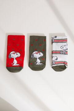 Womensecret Snoopy-mintás, közepes hosszúságú zoknik, 3 db-os csomag rávasalt mintás