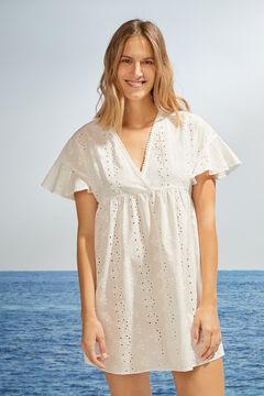 Womensecret Short white embroidered short-sleeved dress white