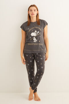 Womensecret Long grey short-sleeved Snoopy pyjamas grey