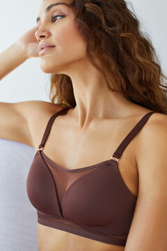 Womensecret Chocolate microfibre tulle heat-sealed padded triangle bra brown
