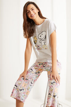 Womensecret Short grey Snoopy Capri cotton pyjamas pink