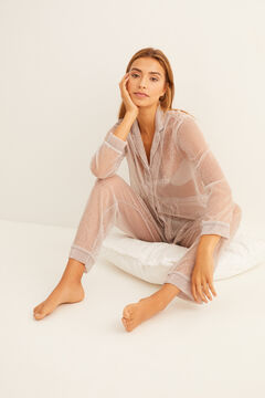 Womensecret Ecru pleated classic pyjamas grey