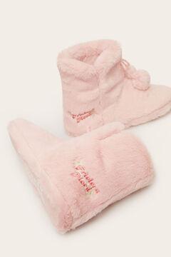Womensecret Sapatilhas casa tipo bota  rosa