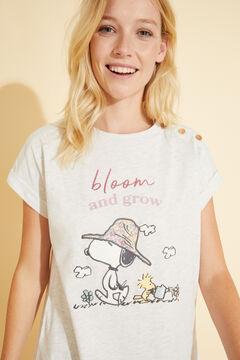 Womensecret Long ivory cotton Snoopy pyjamas beige
