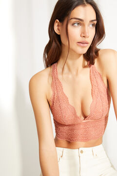 Womensecret Orange lace halter bra top brown