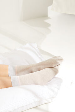 Womensecret Lurex detail mid-length socks nude