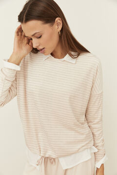 Womensecret Long stripey pyjamas with sparkly details pink