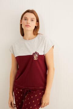 Womensecret Pyjama à manches courtes Gryffondor 100 % coton grenat gris