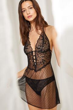 Womensecret Camisa de dormir alças curta de plumetti preto preto