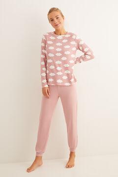 Womensecret Rózsaszín felh?s, hosszú pizsama rózsaszín