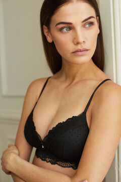 Womensecret LOVELY Black flocked tulle triangle bra black