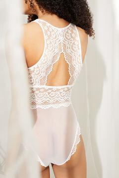 Womensecret Lace tulle details halter body beige