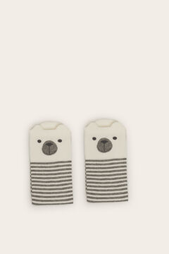 Womensecret Long striped bear socks grey