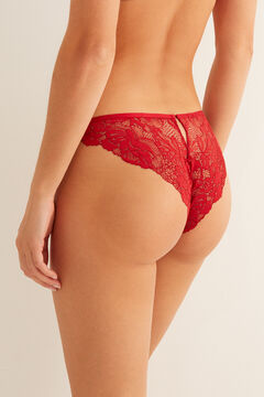 Womensecret Classic red tulle and lace panty red
