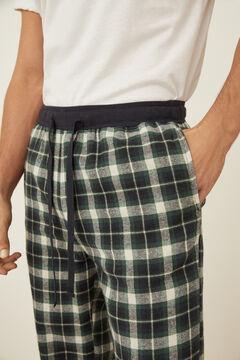 Womensecret Pantalón algodón verde cuadros verde
