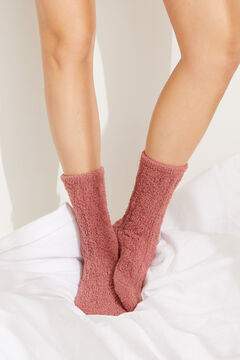 Womensecret Ribbed fluffy mid-length socks pink