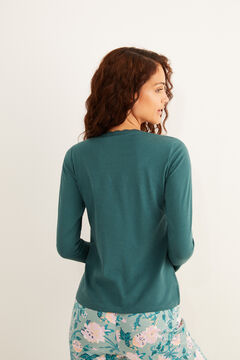 Womensecret Long-sleeved green cotton lace Henley t-shirt green