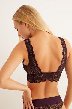 Womensecret Maroon lace V-neck bralette pink
