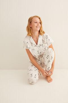Womensecret Pijama largo camisero Snoopy manga corta gris