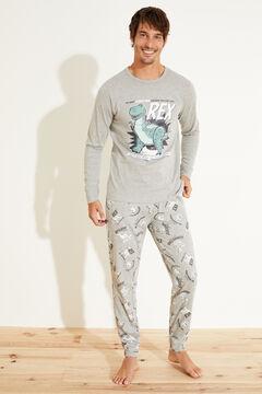 Womensecret Pijama largo rex algodón gris