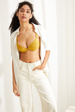 Womensecret GORGEOUS Sujetador push up detalle encaje amarillo verde