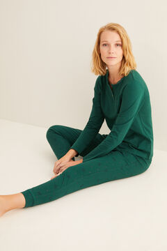 Womensecret Green long-sleeved Henley top green
