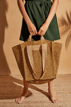 Womensecret Straw basket bag handles nude